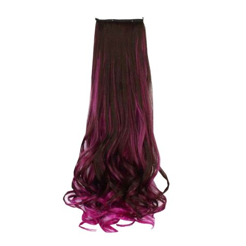 45 CM Synthetic Hair Extension for Women Brown & Rose Red