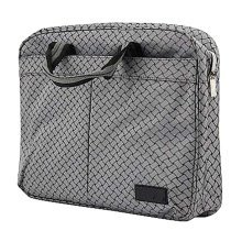 Multilayer Thicker File Holder Zipper Briefcase Information Bag-Gray