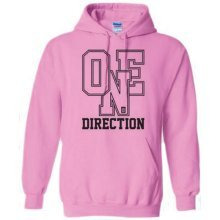 Medium Pink One Direction Athletic Logo Ladies Hooded Top. -
