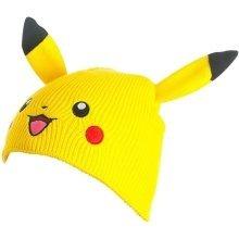 Pokemon Unisex Pikachu Face and Ears Cuffless Beanie One Size - Yellow